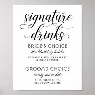 Poster La signature de mariage boit le blanc noir du