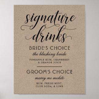 Poster La signature de mariage boit le signe   Papier