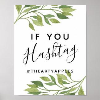 Poster la verdure poussent des feuilles épouser social de