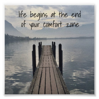 """Poster La """"vie commence à la fin de votre zone de confort"""