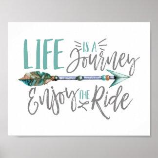 Poster La vie est un voyage apprécient l'envie de voyager