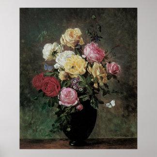 Poster La vie toujours avec des fleurs dans le vase par