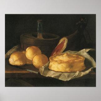 Poster La vie toujours avec la poul de pain et le jambon,