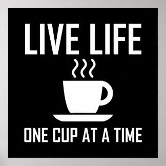 Poster La vie vivante un buveur de thé de café de tasse à