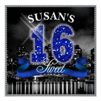 Poster La ville allume le sweet sixteen ID118 bleu