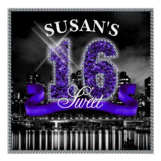 Poster La ville allume le sweet sixteen ID119 pourpre