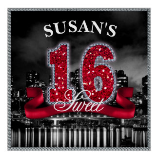 Poster La ville allume le sweet sixteen ID242 rouge