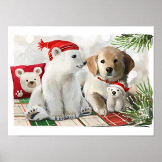 Poster Labrador d'or et l'ours blanc