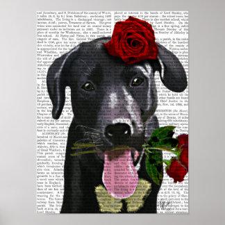 Poster Labrador noir avec des roses