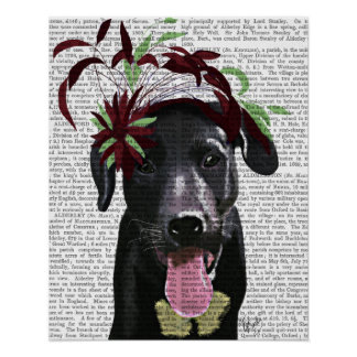 Poster Labrador noir avec Fascinator vert
