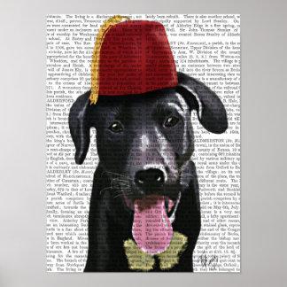Poster Labrador noir avec Fez