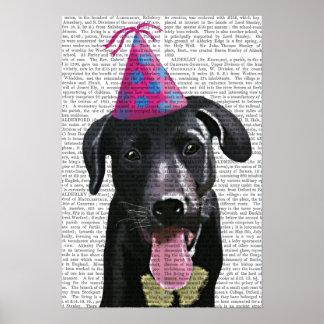 Poster Labrador noir avec le casquette de partie