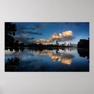 Poster Lac du centre ladybird de coucher du soleil