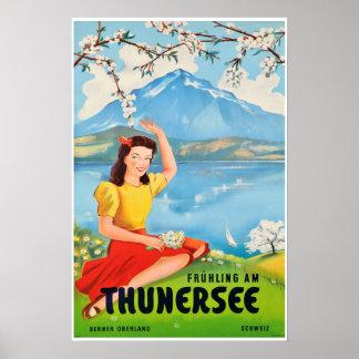 Poster Lac Thun, Suisse, affiche de voyage