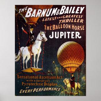 Poster L'affiche de cirque de Jupiter de cheval de ballon
