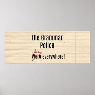 Poster L'affiche de police de grammaire