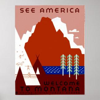 Poster L'affiche vintage Montana de voyage de WPA voient