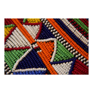 Poster L'Afrique, Kenya. Perles de tribal de Maasai