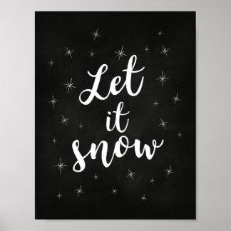Poster Laissez lui neiger ; Décor de Noël