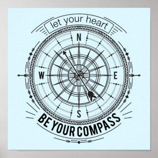 Poster Laissez votre coeur être votre boussole