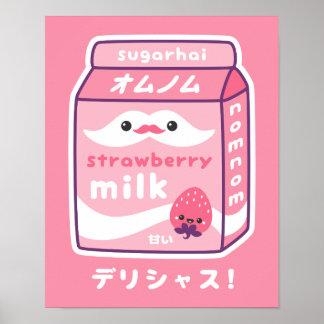 Poster Lait mignon de fraise