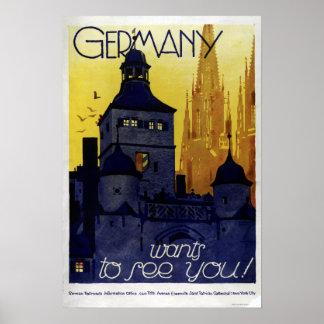 Poster L'Allemagne vintage veut vous voir des voitures