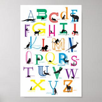Poster L'alphabet avec l'animal silhouette l'affiche