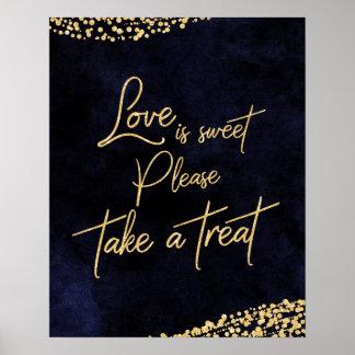 Poster L'amour d'aquarelle et d'or de bleu marine est