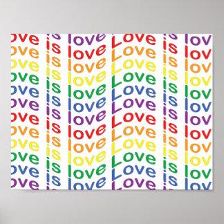 Poster L'amour de drapeau de fierté d'arc-en-ciel est