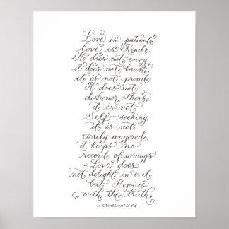 Poster L'amour est typographie inspirée patiente de vers