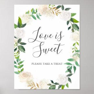 Poster L'amour floral de mariage d'aquarelle pâle est