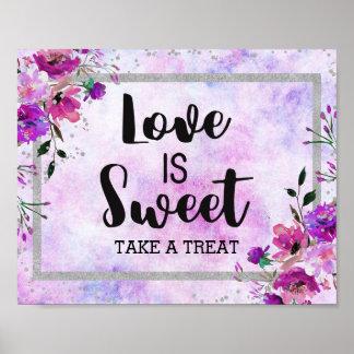 Poster L'amour floral et argenté pourpre de confettis est