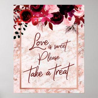 Poster L'amour floral et rose de Bourgogne d'or est