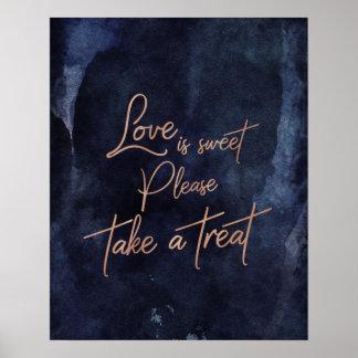 Poster L'amour rose d'or d'aquarelle de bleu marine est
