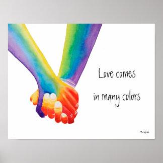 Poster L'amour vient en affiche de beaucoup de couleurs