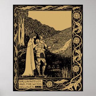 Poster Lancelot et Hellawes par Aubrey Beardsley