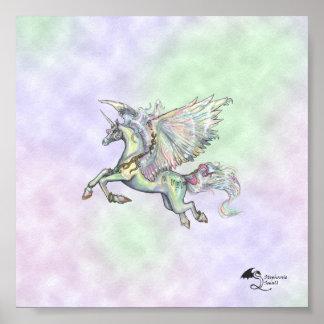 Poster L'ange opacifie la licorne magique de jaune de