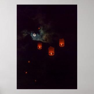 Poster Lanternes dans le ciel