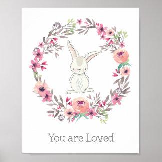 Poster Lapin blanc mignon vous êtes aimés