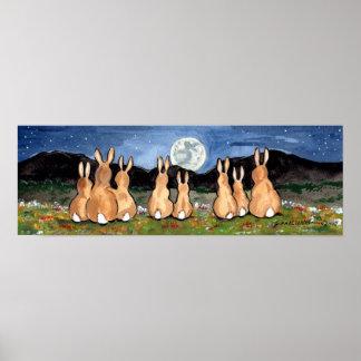 Poster Lapin dans la marine d'affiche de lune de famille