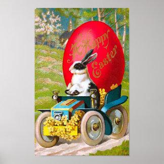 Poster Lapin de Pâques avec le cru frais de voiture