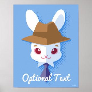 Poster Lapin de Pâques pimpant de lapin blanc de Kawaii