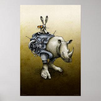Poster Lapin-Rhinocéros