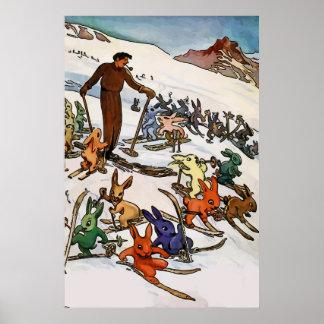 Poster Lapins vintages de neige