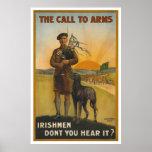 Poster L'appel aux bras, guerre mondiale irlandaise