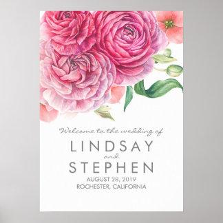 Poster L'aquarelle rose fleurit le signe bienvenu de