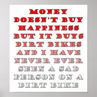 Poster L'argent achète Dirtbikes affiche drôle