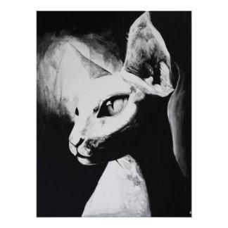 Poster L'art original noir de chat de Sphynx et blanc