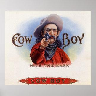 Poster L'art vintage d'étiquette de cigare, cowboy frappe