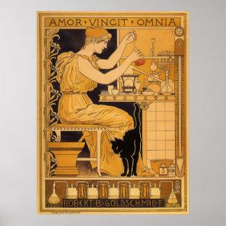 Poster L'art vintage Nouveau, amour conquiert tout le